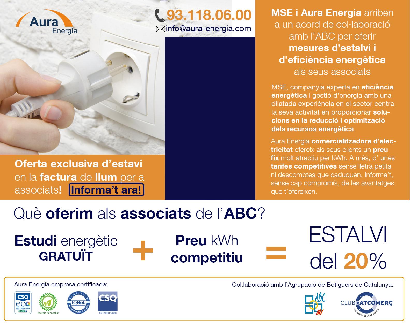 MSE i Aura Energia arriben a un acord de col.laboració amb l'ABC